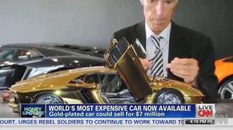 Создатель модели золотого Lamborghini Aventador LP 700-4 Роберт Гюльпен. Кадр телеканала CNN