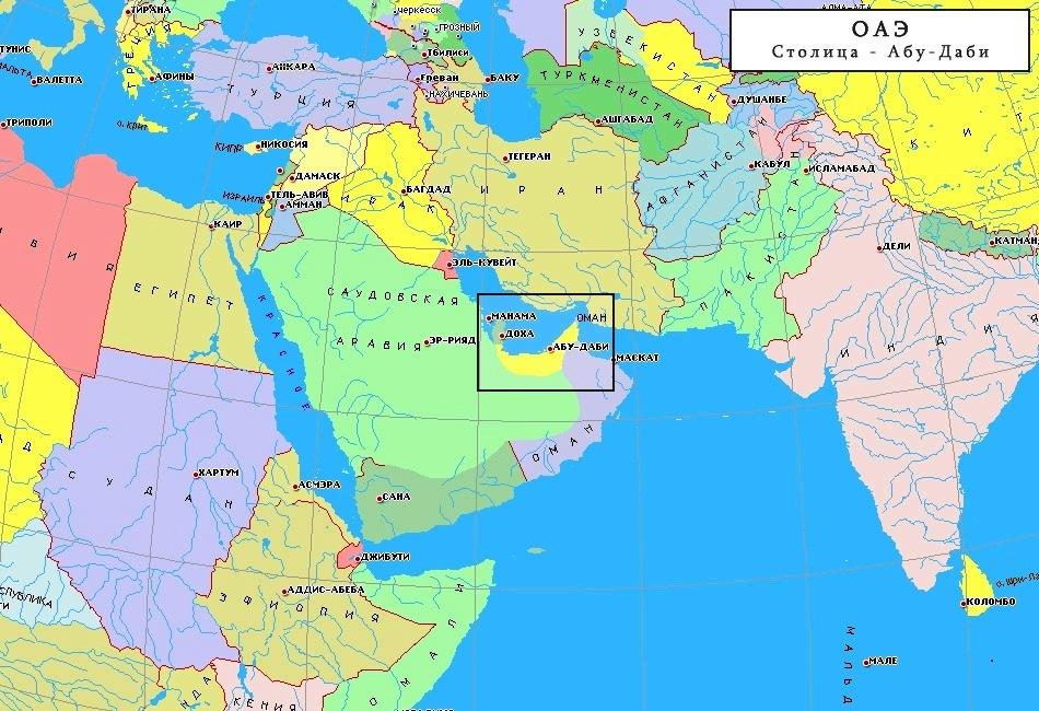 Карта расположения ОАЭ